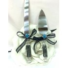 Wedding Cake Knife & Server Set Blue Flower