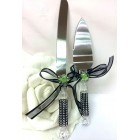 Wedding Cake Knife & Server Set Green Flower