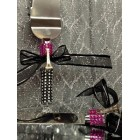 Cake Knife and Server Set with Eiffel Tower Decoration for Wedding Sweet 16 Birthdays