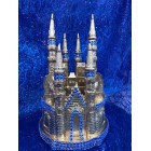 Gold Fairytale Castle with Rhinestone Birthday Wedding Anniversary Cake Topper Centerpiece