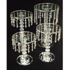 Crystal Beaded Glass Cake Stand Table Centerpiece Set of 3