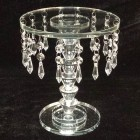 Crystal Beaded Glass Cake Centerpiece Stand 9.25 in H x 8 in W