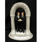 Grooms Gay Couple Under Flower Arch Cake Topper