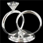 Silver Diamond Ring Cake Topper