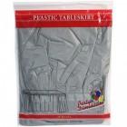 """Silver Rectangular Plastic Table Skirt 29"""" x 14'"""
