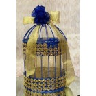 Blue and Gold Birdcage Wedding Gift Card Holder Table Decoration