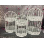 Set of Three White Metal Bird Cage Centerpiece Cake Topper for Wedding Sweet 16 or Baby Shower