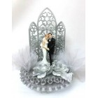 Wedding Couple Figurine Silver Cake Topper or Centerpiece
