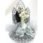 Silver Arch Bride and Groom Wedding-Anniversary Cake Topper Centerpiece
