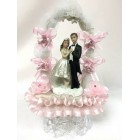 Wedding Figurine Cake Topper Centerpiece with Pink Flowers