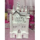 "4 1/2"" White & Silver Fairytale Castle Cake Top Centerpiece for Birthday Wedding Sweet 16"