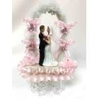 Wedding Couple Cake Topper Centerpiece Under Tulle Arch