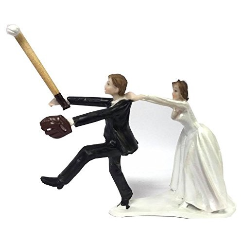 Baseball Wedding Cake Topper Groom With Bride Funny