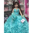 Wedding Bridal Sweet 16 Centerpiece Mis quince Anos Turquoise Doll Keepsake