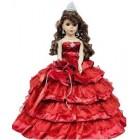 "Porcelain Quinceanera Umbrella Doll (Quince Anos) Burgundy Ceremony Centerpiece Doll 18"""