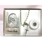 Silver Bible and Rosary Wedding Keepsake Gift