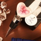 Pink Rose Heart Shaped Arte Murano Bottle Stopper