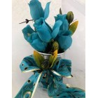 Flower Centerpiece Arrangement Bouquet Roses Peacock Design Wedding All Occasions