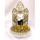 Gay Couple in White Wedding Celebration Golden Cake Topper or Centerpiece or Gift