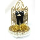 Gay Partner Wedding Celebration Golden Cake Topper or Centerpiece or Gift