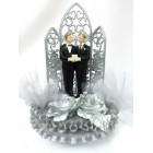 Gay Partner Wedding Celebration Silver Cake Topper or Centerpiece or Gift