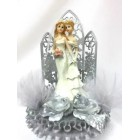 Gay Lesbian Couple Wedding Celebration Silver Cake Topper or Centerpiece or Gift