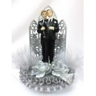 Gay Couple Wedding Celebration Silver Cake Topper or Centerpiece or Gift