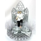 Gay Couple in White Wedding Celebration Silver Cake Topper or Centerpiece or Gift