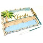 Beach Theme Guest Book Coastal Paradise Beach Scene All Occasion Birthday Wedding Sweet 16