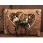 Steampunk Wedding Guest Book with Double Hearts Signature Keepsake Book