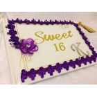 Sweet 16 Birthday Trim Guest Book with Rhinestone Letter