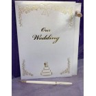 Wedding White and Gold Trim Signature Guest Book Keepsake Gift