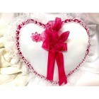 Wedding Ring Bearer Heart Lace Pillow with Organza Flower