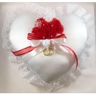 White Satin Ring Bearer Heart Pillow Wedding Reception Keepsake 9""