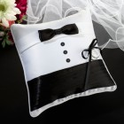 Wedding Tuxedo Ring Pillow Black and White