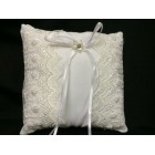 White Satin Wedding Ring Bearer Bead and Lace Pillow