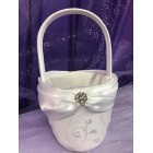 Wedding White Satin Flower Girl Basket with Rhinestones Decoration Accessorie