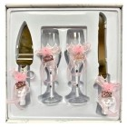 4 Piece Mis Quince Anos Cake Knife and Server Set with Champagne Toasting Glass Flutes White Flower Pink Design
