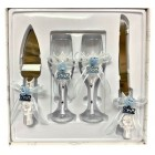 4 Piece Mis Quince Anos Cake Knife and Server Set with Champagne Toasting Glass Flutes White Flower Light Blue Design