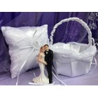 Wedding Bride and Groom White Satin Pillow with Basket Reception Party Accessories