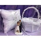 Wedding Ethnic Bride and Groom White Satin Pillow with Basket Reception Party Accessories
