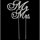 Silver & Rhinestone Mr. & Mrs. Cake Topper