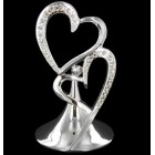 Bling Silver Double Heart Cake Topper