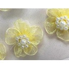12 Yellow Organza Glittered Flowers with Pearls Appliqué Sow