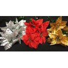 Christmas Poinsettia Assortment Flower Bunches Holiday Decoration Lot of 6 Tems 36 Flowers