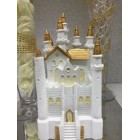 White and Gold Fairy Tale Castle Cake Top Centerpiece for Birthday Wedding Sweet 16